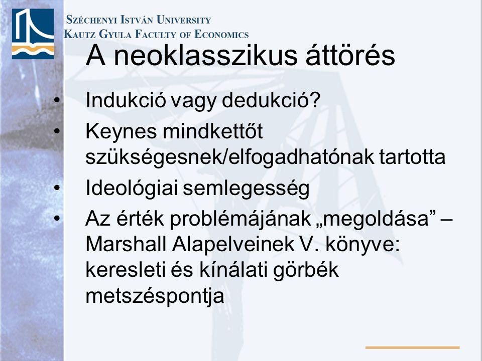 """A neoklasszikus áttörés Indukció vagy dedukció? Keynes mindkettőt szükségesnek/elfogadhatónak tartotta Ideológiai semlegesség Az érték problémájának """""""