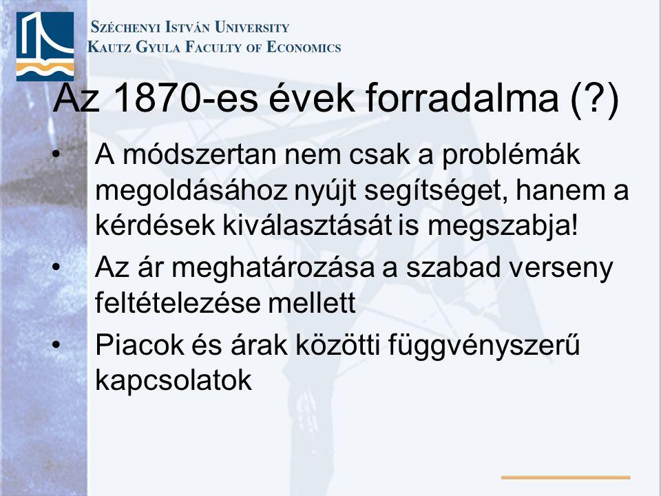 Az 1870-es évek forradalma (?) A módszertan nem csak a problémák megoldásához nyújt segítséget, hanem a kérdések kiválasztását is megszabja! Az ár meg