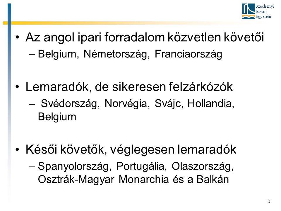 Széchenyi István Egyetem 10 Az angol ipari forradalom közvetlen követői –Belgium, Németország, Franciaország Lemaradók, de sikeresen felzárkózók – Svédország, Norvégia, Svájc, Hollandia, Belgium Késői követők, véglegesen lemaradók –Spanyolország, Portugália, Olaszország, Osztrák-Magyar Monarchia és a Balkán