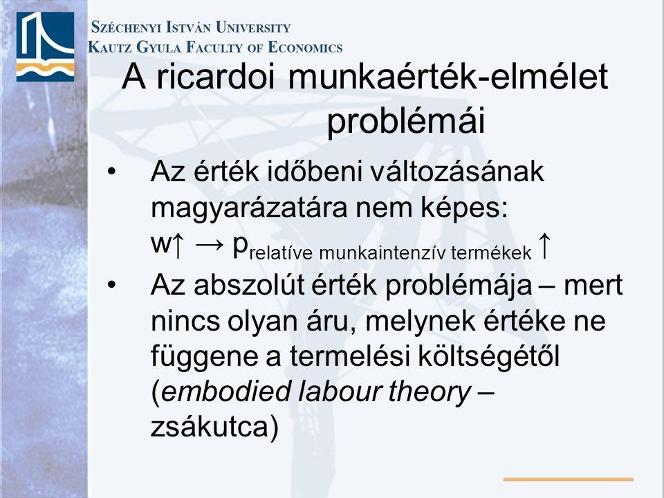 A ricardoi munkaérték-elmélet problémái Az érték időbeni változásának magyarázatára nem képes: w↑ → p relatíve munkaintenzív termékek ↑ Az abszolút ér