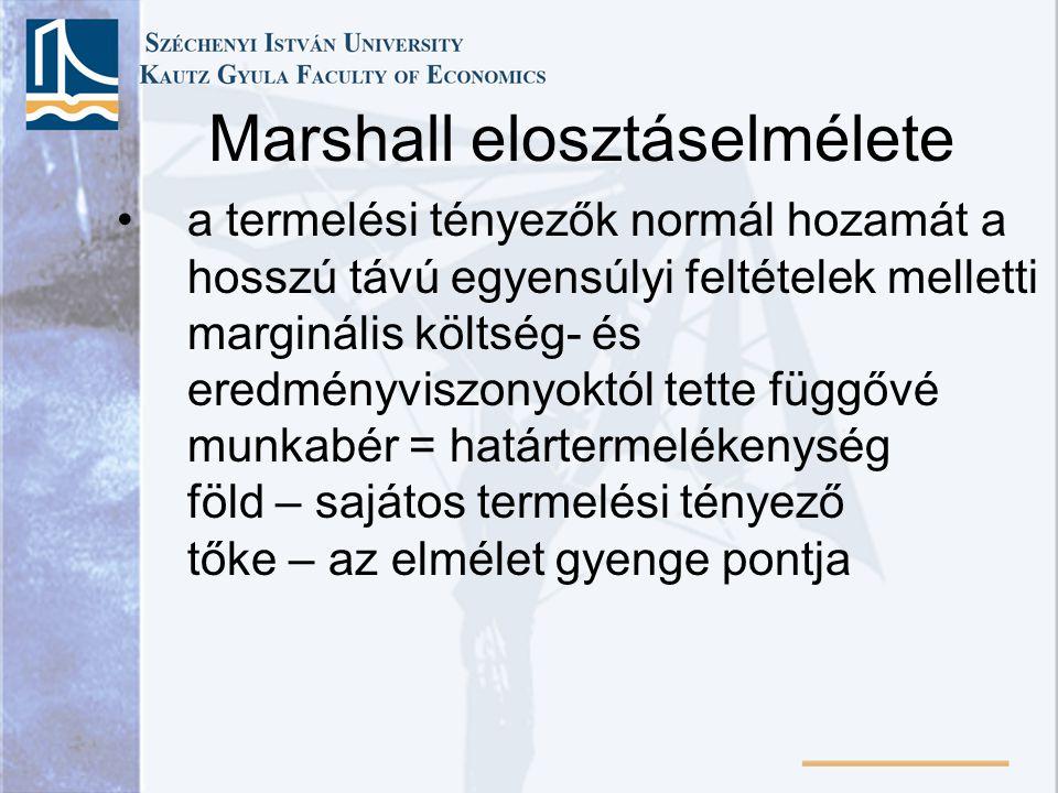 Marshall elosztáselmélete a termelési tényezők normál hozamát a hosszú távú egyensúlyi feltételek melletti marginális költség- és eredményviszonyoktól