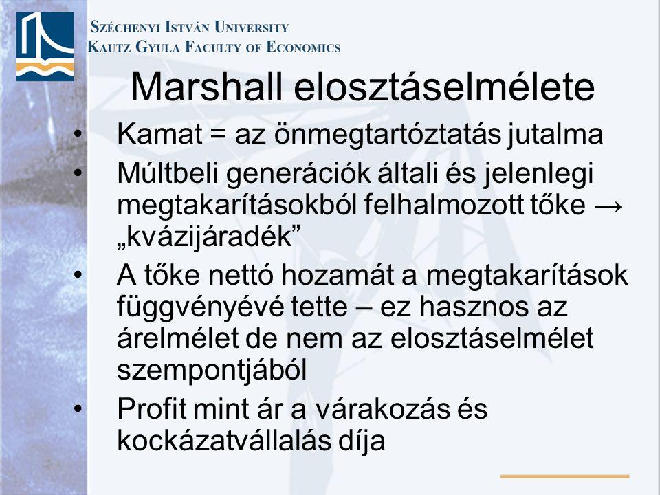 """Marshall elosztáselmélete Kamat = az önmegtartóztatás jutalma Múltbeli generációk általi és jelenlegi megtakarításokból felhalmozott tőke → """"kvázijára"""