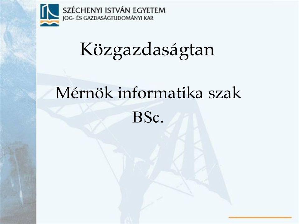 Közgazdaságtan Mérnök informatika szak BSc.