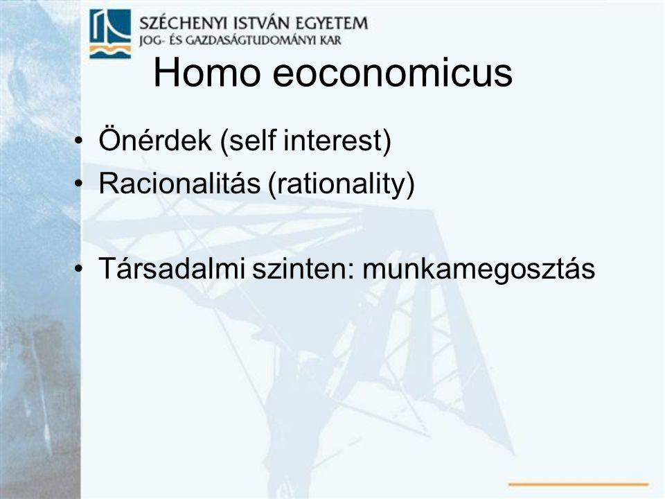 Homo eoconomicus Önérdek (self interest) Racionalitás (rationality) Társadalmi szinten: munkamegosztás