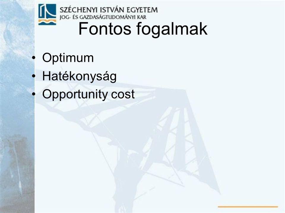 Fontos fogalmak Optimum Hatékonyság Opportunity cost