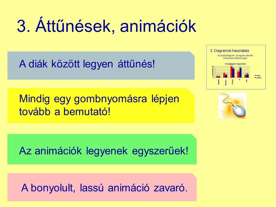 3. Áttűnések, animációk A szövegek mindig animációval jelenjenek meg!