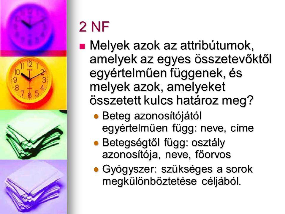 2 NF Melyek azok az attribútumok, amelyek az egyes összetevőktől egyértelműen függenek, és melyek azok, amelyeket összetett kulcs határoz meg? Melyek