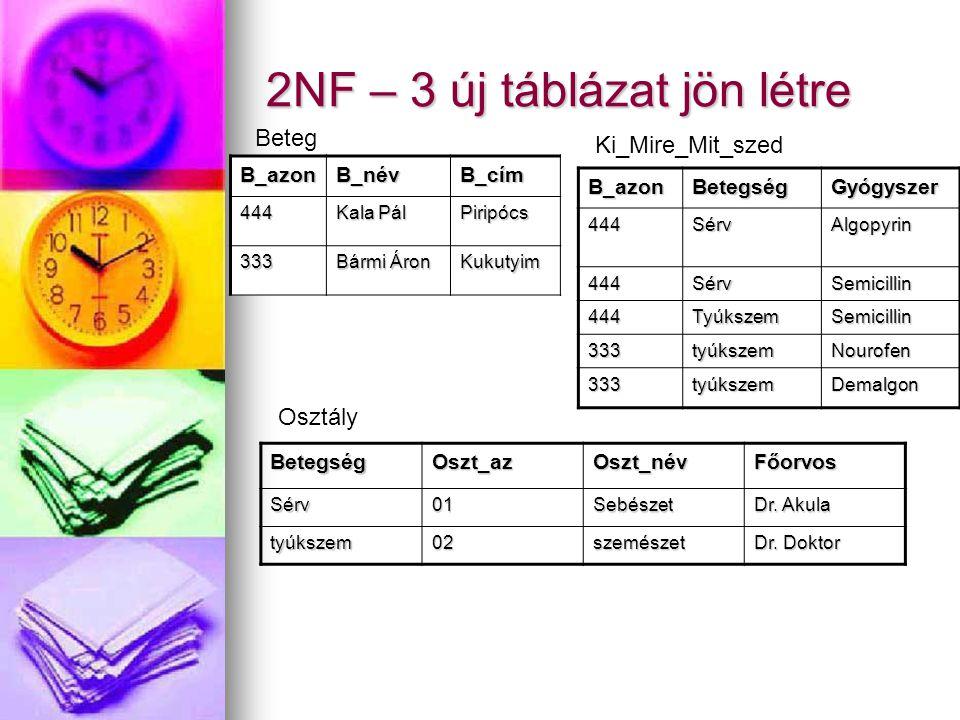 2NF – 3 új táblázat jön létre B_azonB_névB_cím 444 Kala Pál Piripócs 333 Bármi Áron Kukutyim B_azonBetegségGyógyszer444SérvAlgopyrin 444SérvSemicillin