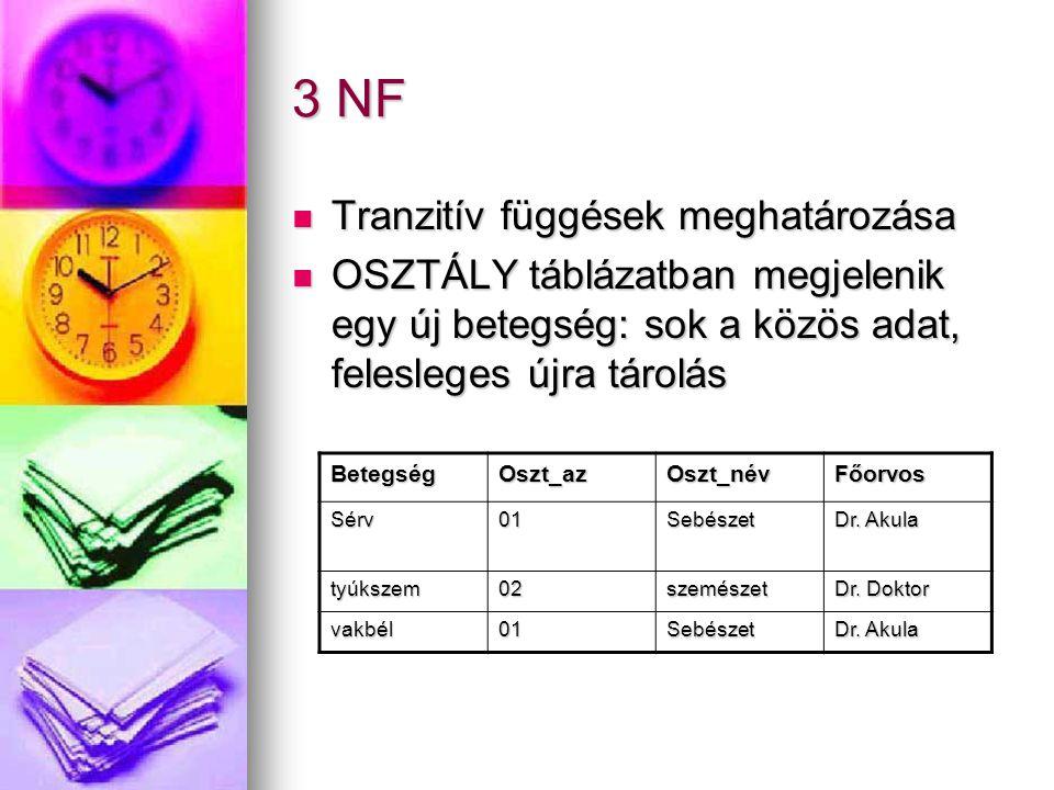 3 NF Tranzitív függések meghatározása Tranzitív függések meghatározása OSZTÁLY táblázatban megjelenik egy új betegség: sok a közös adat, felesleges új