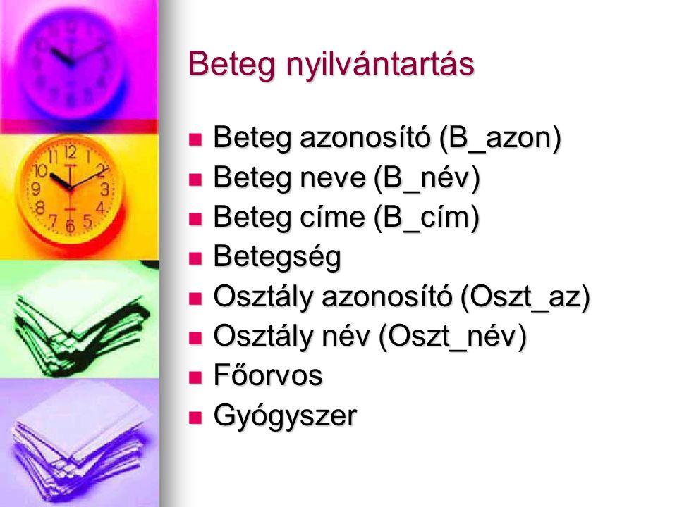 Beteg nyilvántartás Beteg azonosító (B_azon) Beteg azonosító (B_azon) Beteg neve (B_név) Beteg neve (B_név) Beteg címe (B_cím) Beteg címe (B_cím) Bete