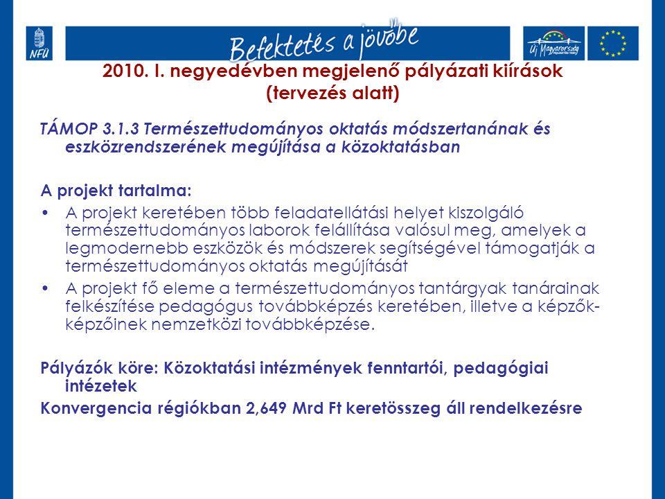 2010. I. negyedévben megjelenő pályázati kiírások (tervezés alatt) TÁMOP 3.1.3 Természettudományos oktatás módszertanának és eszközrendszerének megújí