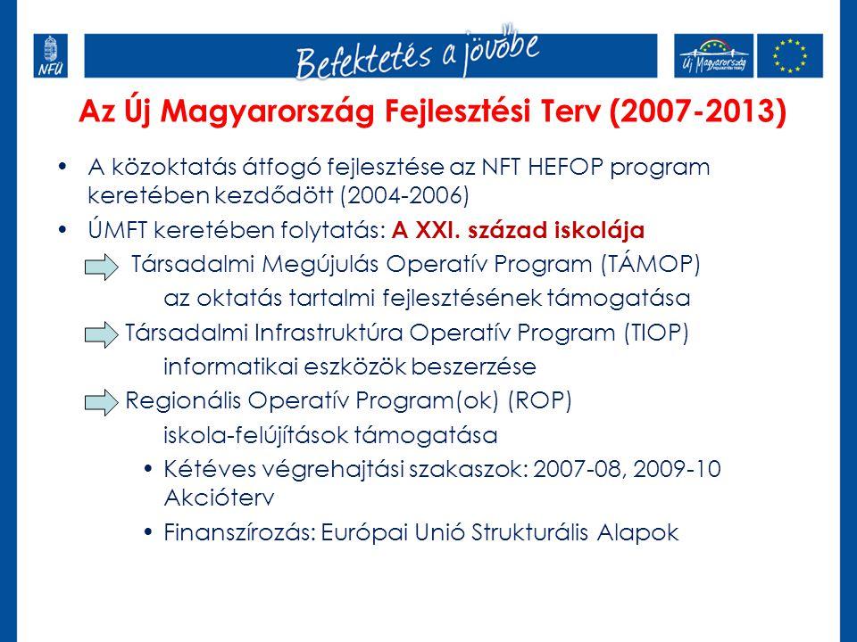 Az Új Magyarország Fejlesztési Terv (2007-2013) A közoktatás átfogó fejlesztése az NFT HEFOP program keretében kezdődött (2004-2006) ÚMFT keretében folytatás: A XXI.