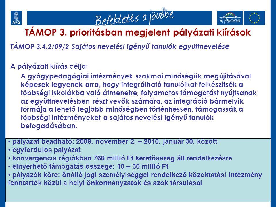 TÁMOP 3.4.2/09/2 Sajátos nevelési igényű tanulók együttnevelése A pályázati kiírás célja: A gyógypedagógiai intézmények szakmai minőségük megújításáva