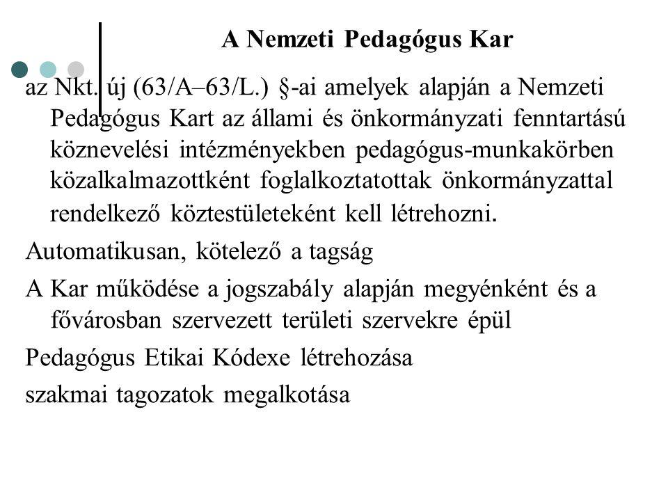 A Nemzeti Pedagógus Kar az Nkt. új (63/A–63/L.) §-ai amelyek alapján a Nemzeti Pedagógus Kart az állami és önkormányzati fenntartású köznevelési intéz