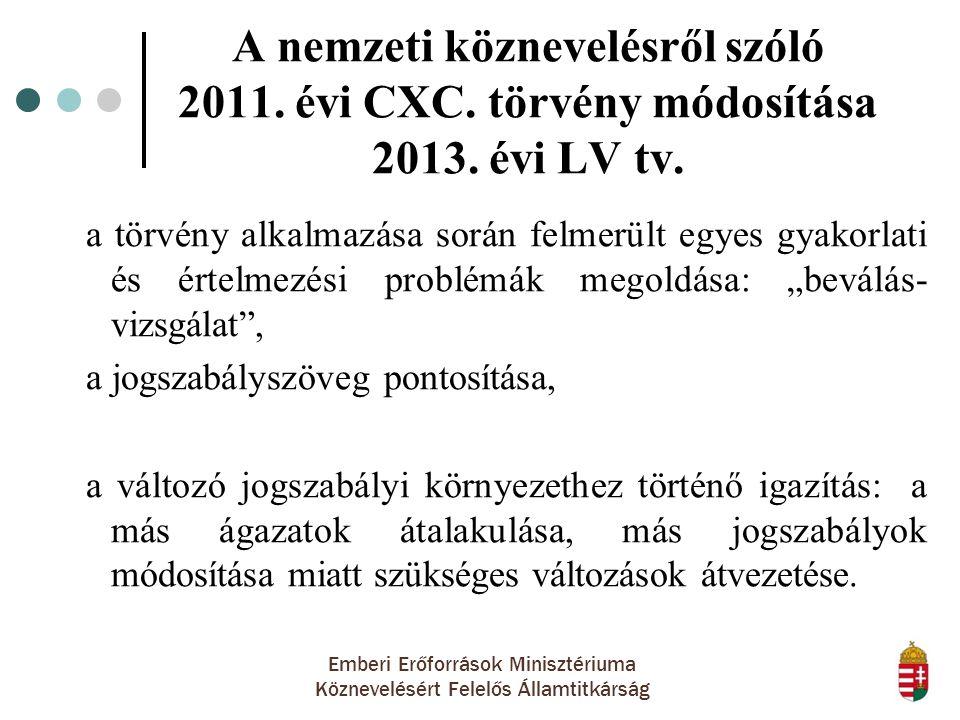 Emberi Erőforrások Minisztériuma Köznevelésért Felelős Államtitkárság A nemzeti köznevelésről szóló 2011. évi CXC. törvény módosítása 2013. évi LV tv.