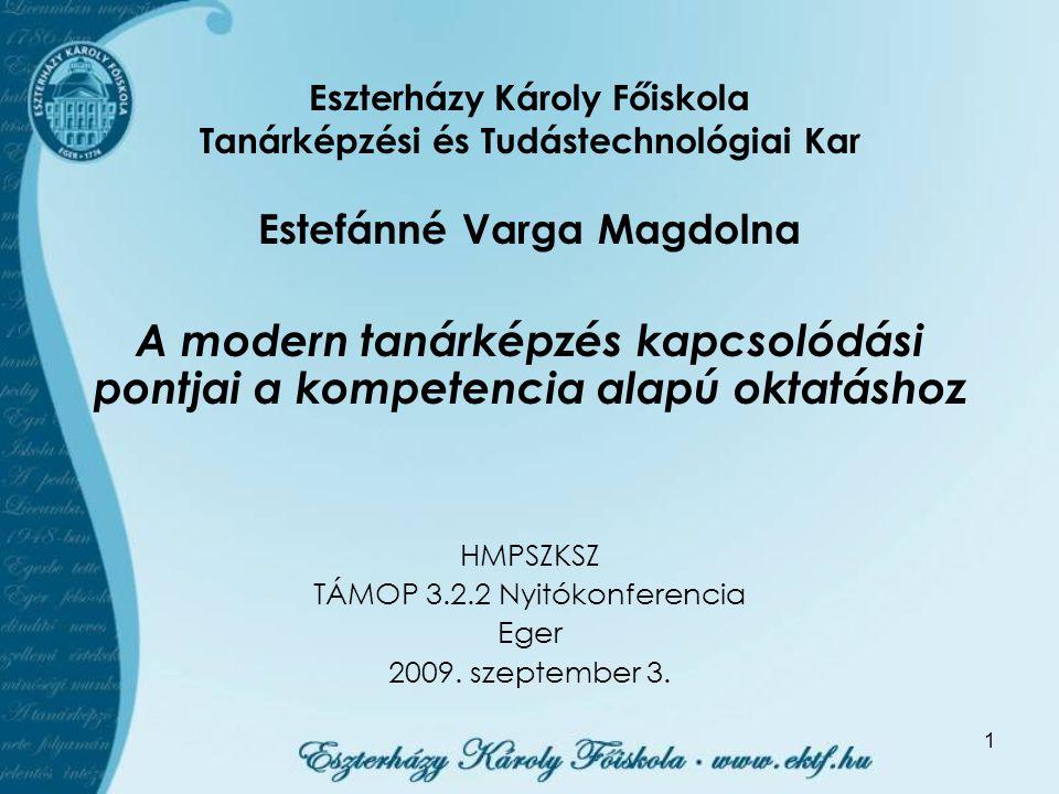 1 Estefánné Varga Magdolna A modern tanárképzés kapcsolódási pontjai a kompetencia alapú oktatáshoz HMPSZKSZ TÁMOP 3.2.2 Nyitókonferencia Eger 2009. s