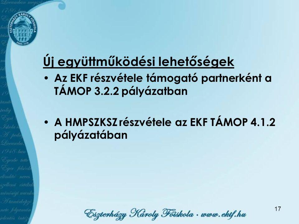 17 Új együttműködési lehetőségek Az EKF részvétele támogató partnerként a TÁMOP 3.2.2 pályázatban A HMPSZKSZ részvétele az EKF TÁMOP 4.1.2 pályázatába