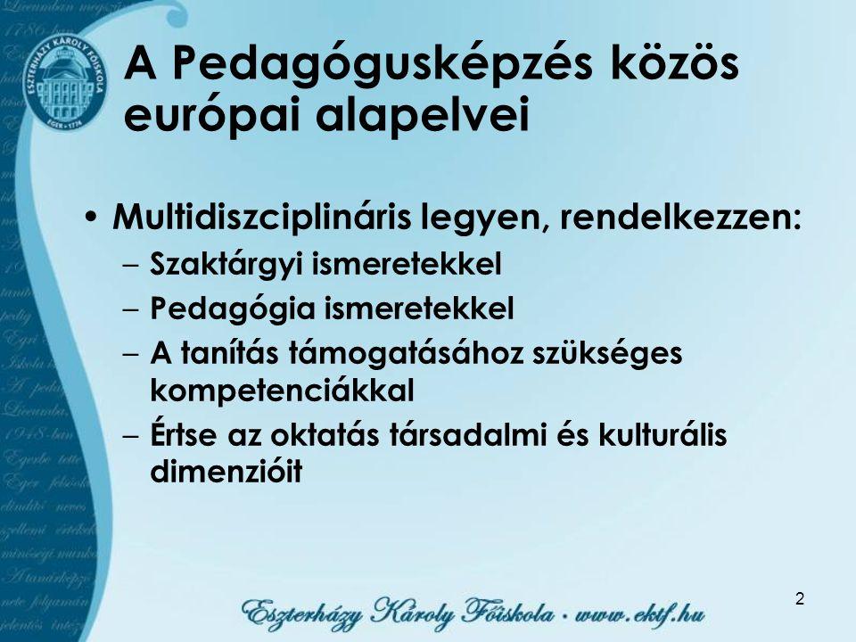 2 A Pedagógusképzés közös európai alapelvei Multidiszciplináris legyen, rendelkezzen: – Szaktárgyi ismeretekkel – Pedagógia ismeretekkel – A tanítás t