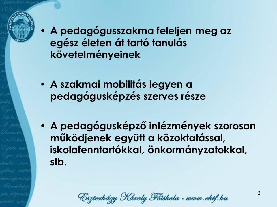 3 A pedagógusszakma feleljen meg az egész életen át tartó tanulás követelményeinek A szakmai mobilitás legyen a pedagógusképzés szerves része A pedagó