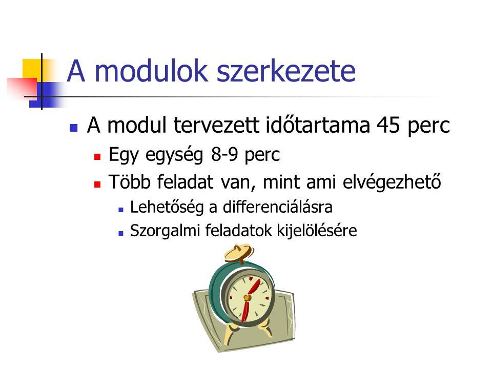 A modulok szerkezete A modul tervezett időtartama 45 perc Egy egység 8-9 perc Több feladat van, mint ami elvégezhető Lehetőség a differenciálásra Szor
