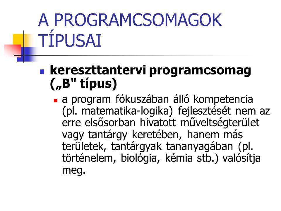 """A PROGRAMCSOMAGOK TÍPUSAI kereszttantervi programcsomag (""""B"""