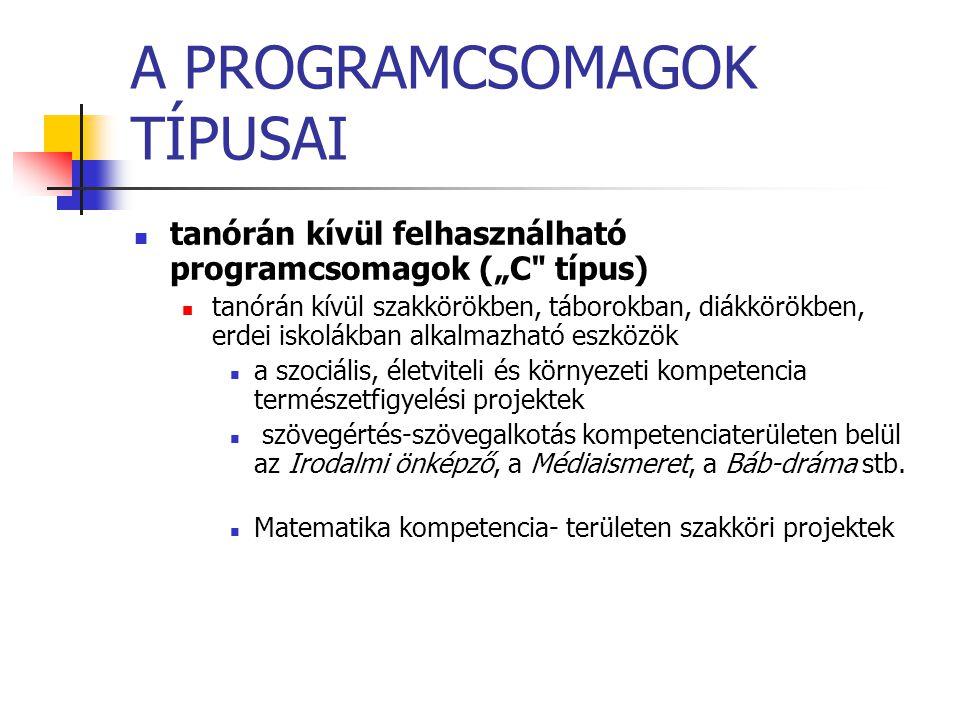"""A PROGRAMCSOMAGOK TÍPUSAI tanórán kívül felhasználható programcsomagok (""""C"""