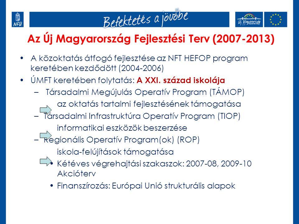 Az Új Magyarország Fejlesztési Terv (2007-2013) A közoktatás átfogó fejlesztése az NFT HEFOP program keretében kezdődött (2004-2006) ÚMFT keretében fo