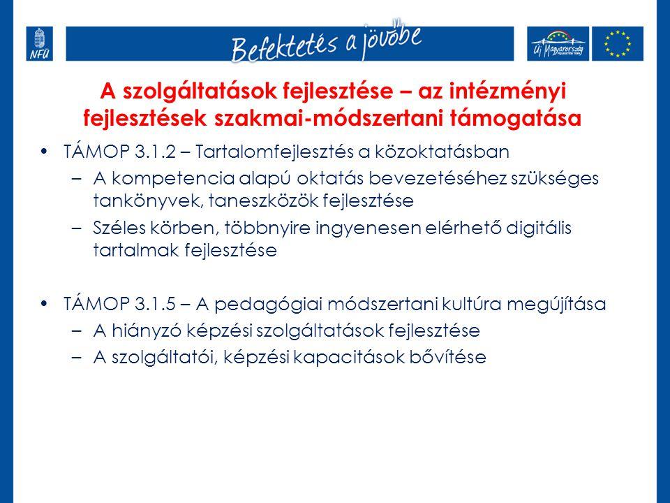 A szolgáltatások fejlesztése – az intézményi fejlesztések szakmai-módszertani támogatása TÁMOP 3.1.2 – Tartalomfejlesztés a közoktatásban –A kompetencia alapú oktatás bevezetéséhez szükséges tankönyvek, taneszközök fejlesztése –Széles körben, többnyire ingyenesen elérhető digitális tartalmak fejlesztése TÁMOP 3.1.5 – A pedagógiai módszertani kultúra megújítása –A hiányzó képzési szolgáltatások fejlesztése –A szolgáltatói, képzési kapacitások bővítése