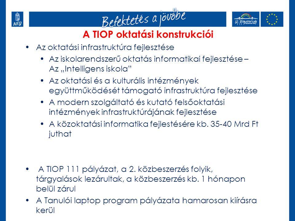 """A TIOP oktatási konstrukciói Az oktatási infrastruktúra fejlesztése Az iskolarendszerű oktatás informatikai fejlesztése – Az """"Intelligens iskola Az oktatási és a kulturális intézmények együttműködését támogató infrastruktúra fejlesztése A modern szolgáltató és kutató felsőoktatási intézmények infrastruktúrájának fejlesztése A közoktatási informatika fejlestésére kb."""