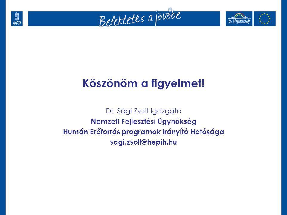 Köszönöm a figyelmet! Dr. Sági Zsolt Igazgató Nemzeti Fejlesztési Ügynökség Humán Erőforrás programok Irányító Hatósága sagi.zsolt@hepih.hu