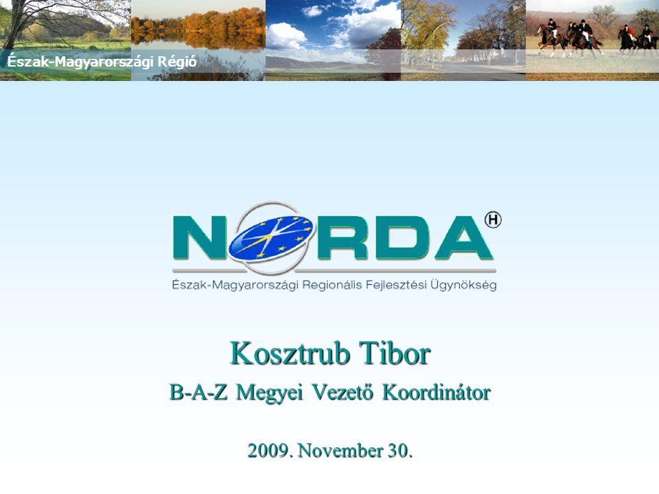 Észak-Magyarországi Régió Kosztrub Tibor B-A-Z Megyei Vezető Koordinátor 2009. November 30.
