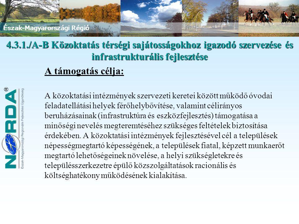 Észak-Magyarországi Régió A támogatás célja: A közoktatási intézmények szervezeti keretei között működő óvodai feladatellátási helyek férőhelybővítése, valamint célirányos beruházásainak (infrastruktúra és eszközfejlesztés) támogatása a minőségi nevelés megteremtéséhez szükséges feltételek biztosítása érdekében.