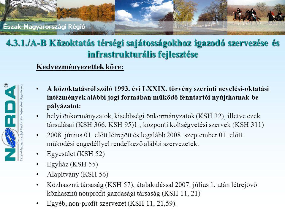 Észak-Magyarországi Régió Kedvezményezettek köre: A közoktatásról szóló 1993. évi LXXIX. törvény szerinti nevelési-oktatási intézmények alábbi jogi fo