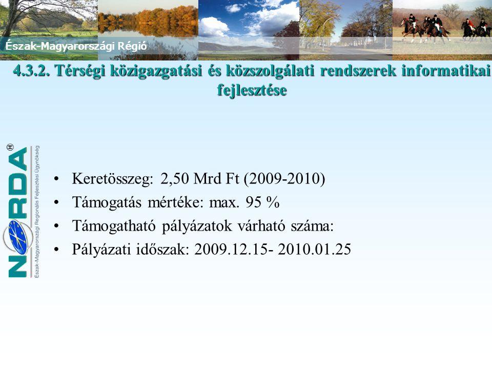 Észak-Magyarországi Régió Keretösszeg: 2,50 Mrd Ft (2009-2010) Támogatás mértéke: max. 95 % Támogatható pályázatok várható száma: Pályázati időszak: 2