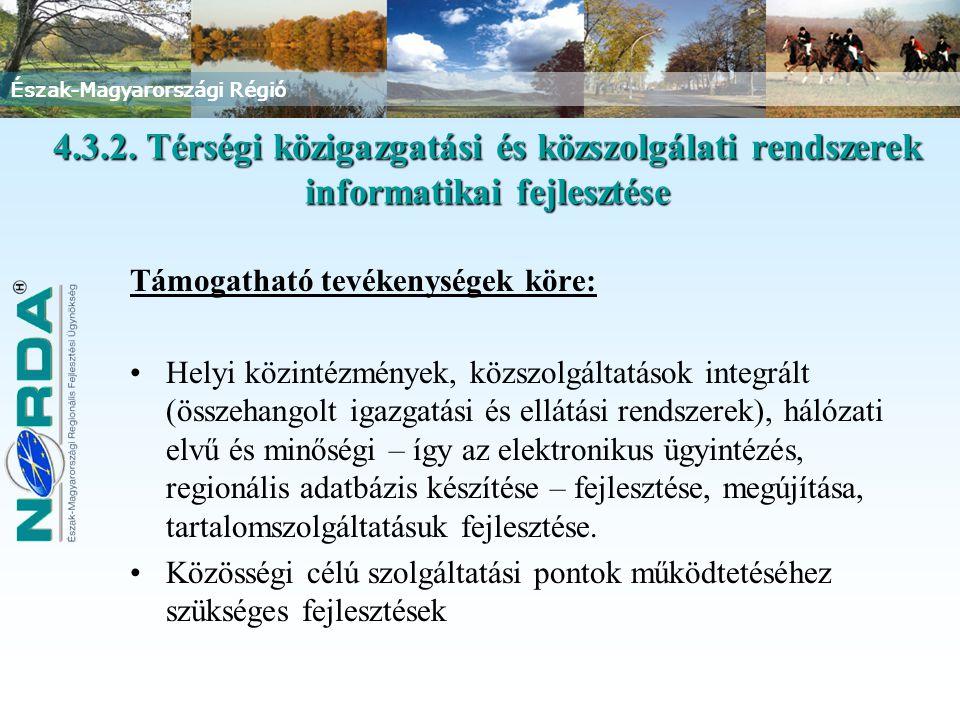 Észak-Magyarországi Régió Támogatható tevékenységek köre: Helyi közintézmények, közszolgáltatások integrált (összehangolt igazgatási és ellátási rendszerek), hálózati elvű és minőségi – így az elektronikus ügyintézés, regionális adatbázis készítése – fejlesztése, megújítása, tartalomszolgáltatásuk fejlesztése.