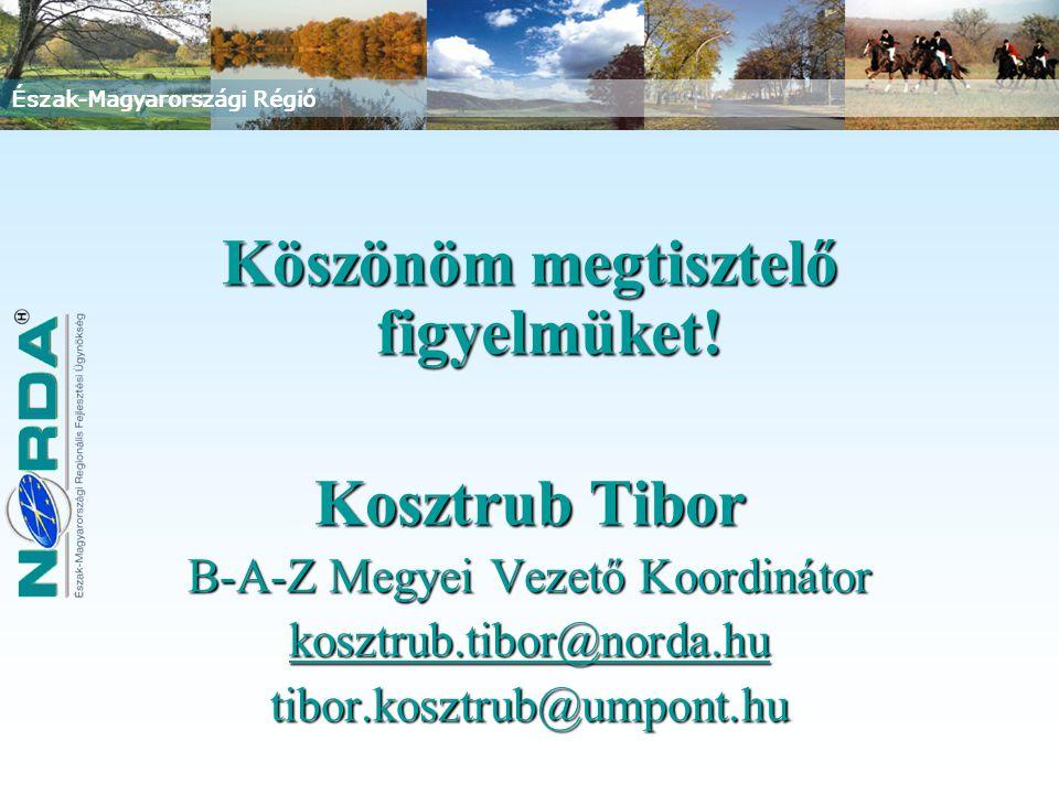 Észak-Magyarországi Régió Köszönöm megtisztelő figyelmüket! Kosztrub Tibor B-A-Z Megyei Vezető Koordinátor kosztrub.tibor@norda.hu tibor.kosztrub@umpo