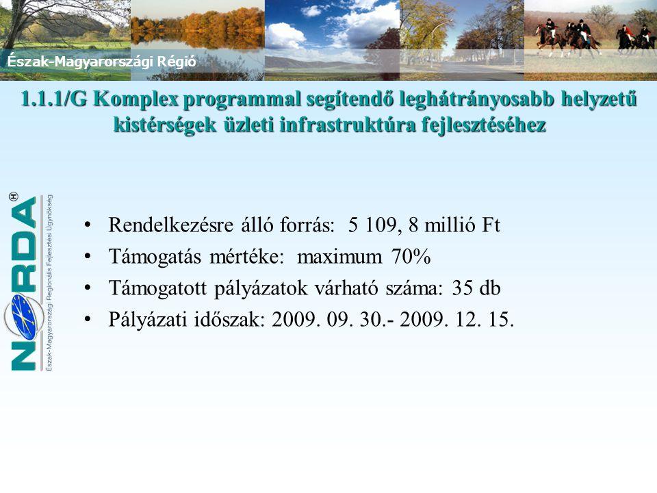 Észak-Magyarországi Régió 1.1.1/G Komplex programmal segítendő leghátrányosabb helyzetű kistérségek üzleti infrastruktúra fejlesztéséhez Rendelkezésre álló forrás: 5 109, 8 millió Ft Támogatás mértéke: maximum 70% Támogatott pályázatok várható száma: 35 db Pályázati időszak: 2009.