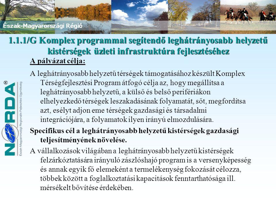 Észak-Magyarországi Régió 1.1.1/G Komplex programmal segítendő leghátrányosabb helyzetű kistérségek üzleti infrastruktúra fejlesztéséhez A pályázat célja: A leghátrányosabb helyzetű térségek támogatásához készült Komplex Térségfejlesztési Program átfogó célja az, hogy megállítsa a leghátrányosabb helyzetű, a külső és belső perifériákon elhelyezkedő térségek leszakadásának folyamatát, sőt, megfordítsa azt, esélyt adjon eme térségek gazdasági és társadalmi integrációjára, a folyamatok ilyen irányú elmozdulására.
