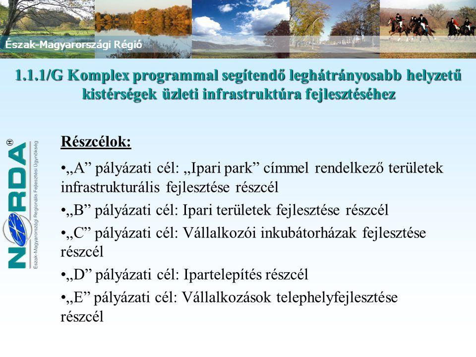 """Észak-Magyarországi Régió 1.1.1/G Komplex programmal segítendő leghátrányosabb helyzetű kistérségek üzleti infrastruktúra fejlesztéséhez Részcélok: """"A pályázati cél: """"Ipari park címmel rendelkező területek infrastrukturális fejlesztése részcél """"B pályázati cél: Ipari területek fejlesztése részcél """"C pályázati cél: Vállalkozói inkubátorházak fejlesztése részcél """"D pályázati cél: Ipartelepítés részcél """"E pályázati cél: Vállalkozások telephelyfejlesztése részcél"""