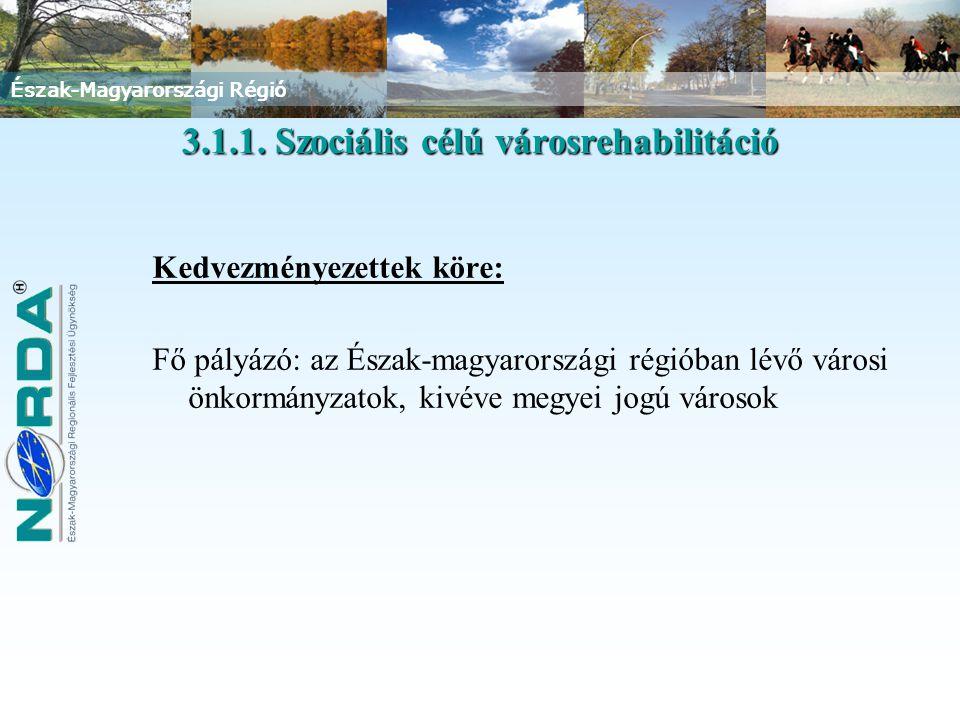 Észak-Magyarországi Régió Kedvezményezettek köre: Fő pályázó: az Észak-magyarországi régióban lévő városi önkormányzatok, kivéve megyei jogú városok 3.1.1.