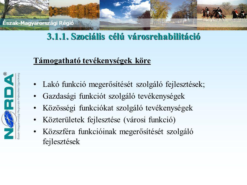 Észak-Magyarországi Régió Támogatható tevékenységek köre Lakó funkció megerősítését szolgáló fejlesztések; Gazdasági funkciót szolgáló tevékenységek Közösségi funkciókat szolgáló tevékenységek Közterületek fejlesztése (városi funkció) Közszféra funkcióinak megerősítését szolgáló fejlesztések 3.1.1.