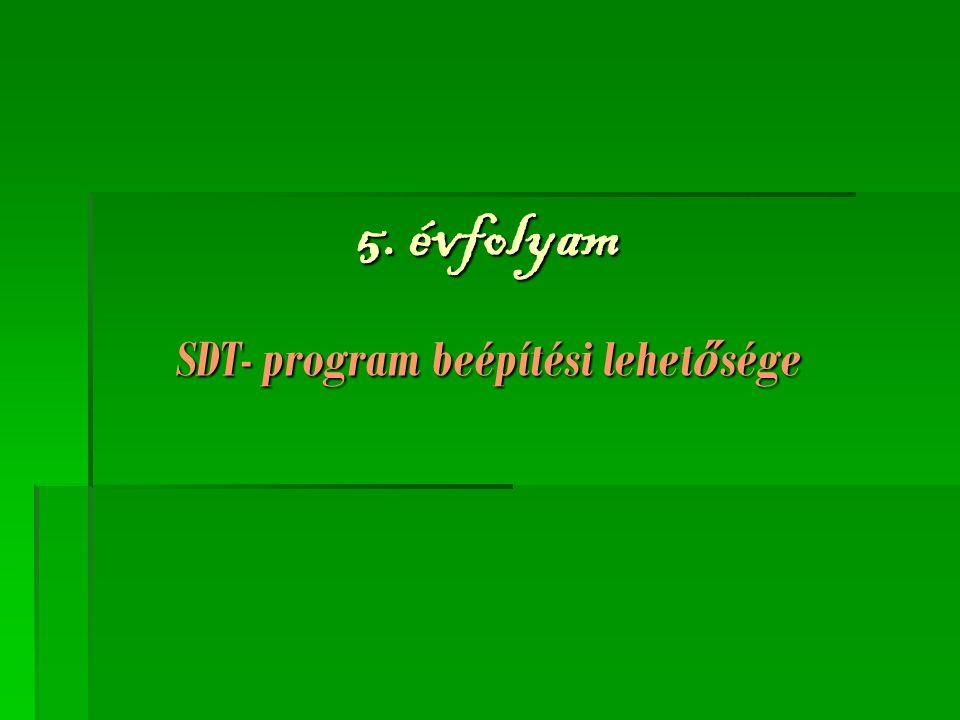 5. évfolyam SDT- program beépítési lehet ő sége