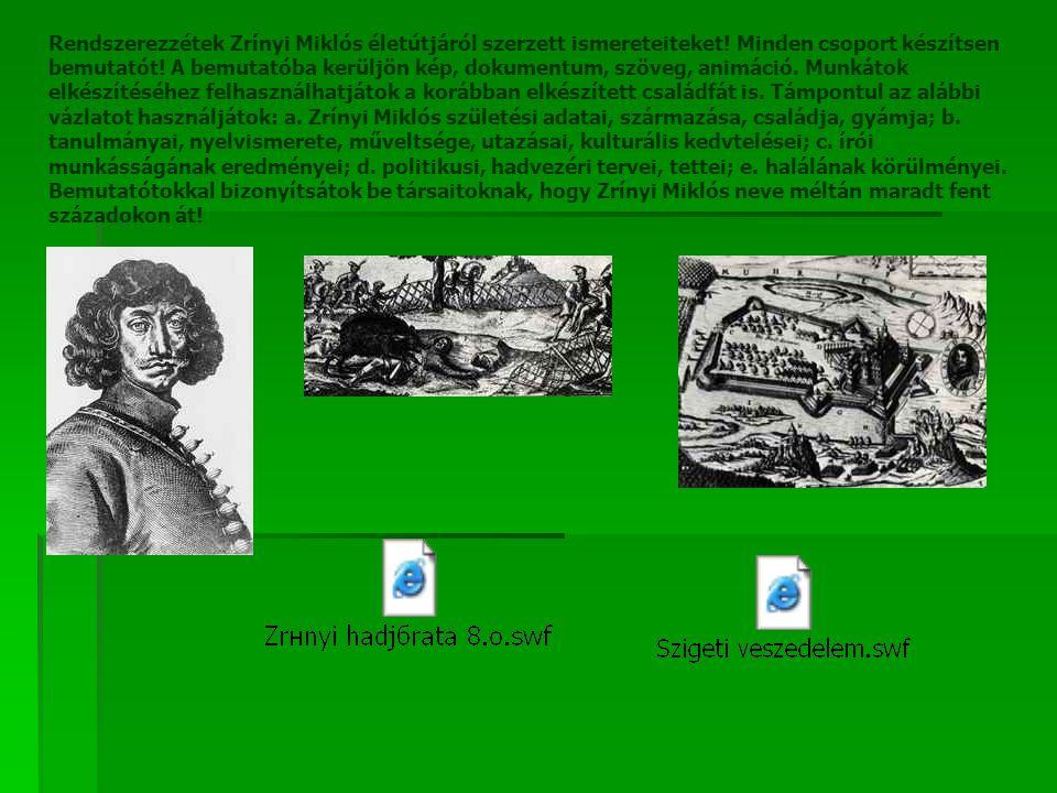 Rendszerezzétek Zrínyi Miklós életútjáról szerzett ismereteiteket.