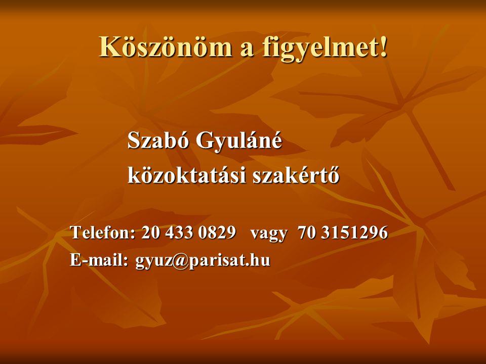 Köszönöm a figyelmet! Szabó Gyuláné közoktatási szakértő Telefon: 20 433 0829 vagy 70 3151296 E-mail: gyuz@parisat.hu