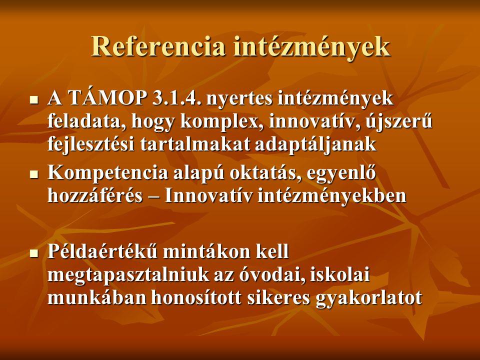 Referencia intézmény: definíció Egyedi Egyedi Más intézmények számára is példaértékű Más intézmények számára is példaértékű Működésében koherens, Működésében koherens, Gyermekközpontú pedagógiai, szervezeti innovációval, gyakorlattal rendelkezik Gyermekközpontú pedagógiai, szervezeti innovációval, gyakorlattal rendelkezik Gyakorlatát képes publikálni, átadni Gyakorlatát képes publikálni, átadni
