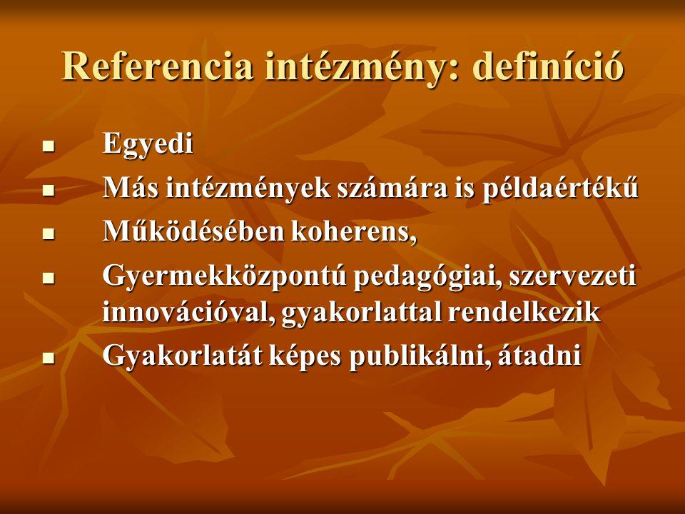 Referencia intézmény: definíció Egyedi Egyedi Más intézmények számára is példaértékű Más intézmények számára is példaértékű Működésében koherens, Műkö