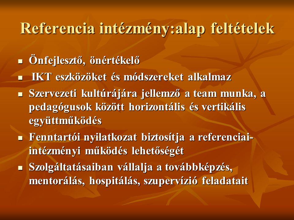 Referencia intézmény:alap feltételek Önfejlesztő, önértékelő Önfejlesztő, önértékelő IKT eszközöket és módszereket alkalmaz IKT eszközöket és módszere