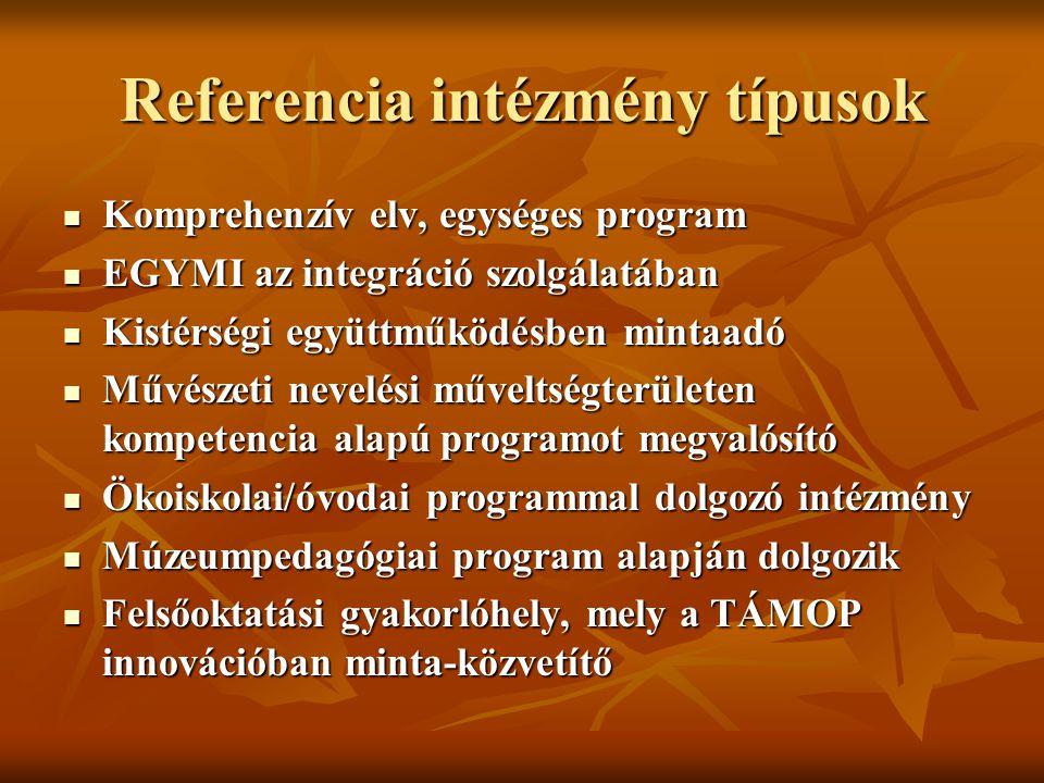Referencia intézmény típusok Komprehenzív elv, egységes program Komprehenzív elv, egységes program EGYMI az integráció szolgálatában EGYMI az integrác