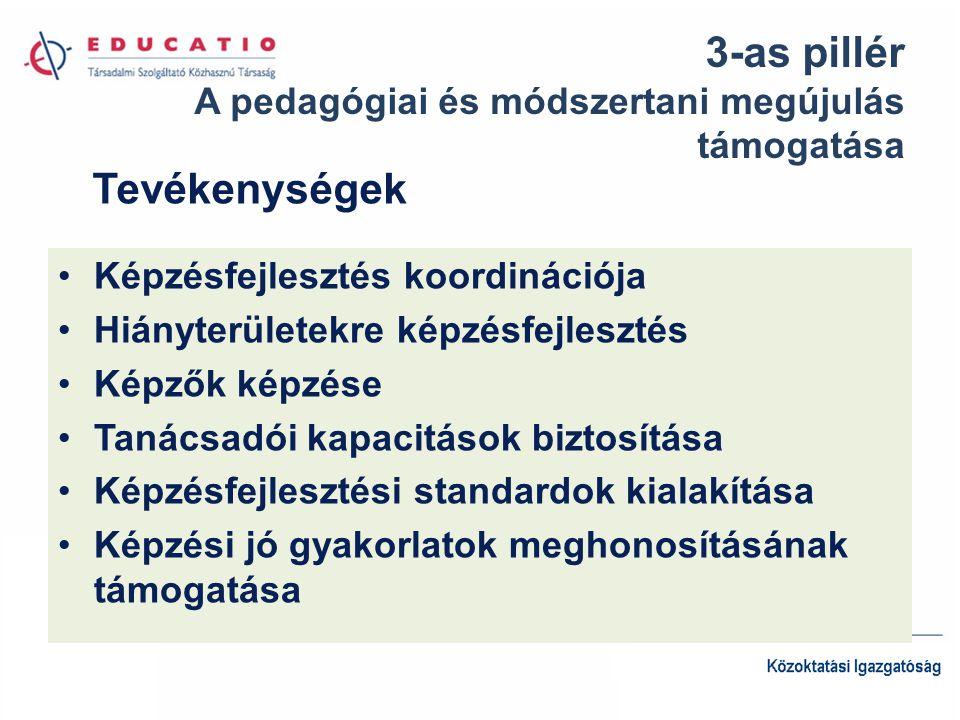 3-as pillér A pedagógiai és módszertani megújulás támogatása Képzésfejlesztés koordinációja Hiányterületekre képzésfejlesztés Képzők képzése Tanácsadói kapacitások biztosítása Képzésfejlesztési standardok kialakítása Képzési jó gyakorlatok meghonosításának támogatása Tevékenységek