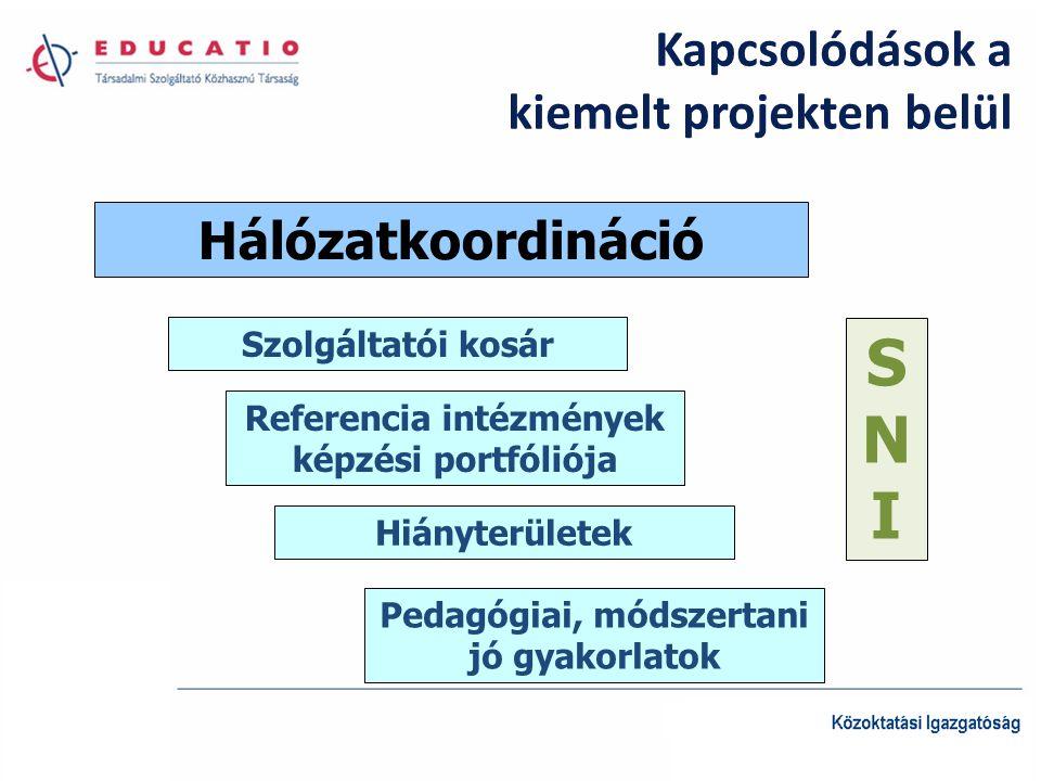 Kapcsolódások a kiemelt projekten belül Hálózatkoordináció Szolgáltatói kosár Referencia intézmények képzési portfóliója Hiányterületek SNISNI Pedagógiai, módszertani jó gyakorlatok